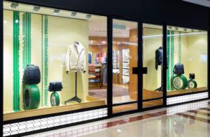 storefront windows with glass door