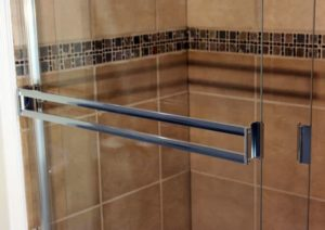 Glass shower door that was installed by Goldfinch Brothers.